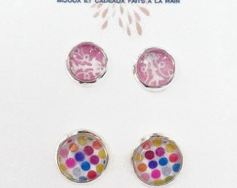 Pair of earrings on stem, promotion, pink floral, multicolored peas, delicate and feminine, made in Quebec, sale