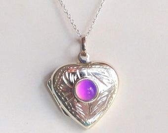 Sterling Silver 925 Mood Locket Necklace Heart Love color changing