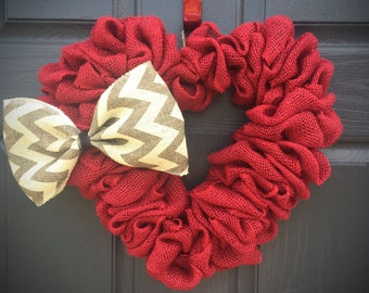 Red Heart Wreaths, Red Heart Decor, Heart Decorations, Heart Door Wreaths, Burlap Hearts, Love Gift, Valentines Day, Heart Gifts, Chevron