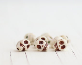 White Skull Beads - Synthetic Howlite Day of the Dead Beads - Small, 10mm - 8 beads