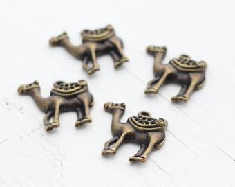 Antique Bronze Camel Pendants 24x26x7mm - 4 Pendants