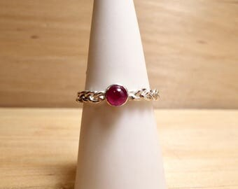 Sterling Silver and Genuine Ruby Stackable Braid Ring