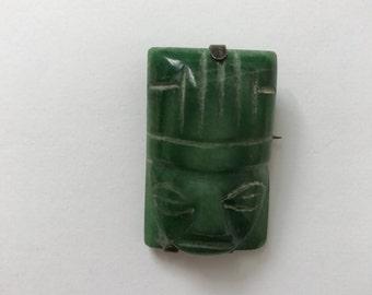 Vintage Mexican Jade Aztec face brooch pin