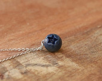Blueberry Necklace - Fruit Jewelry, Fruit Necklace, Food Jewelry, Blueberry jewelry