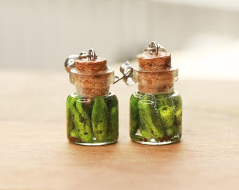 Jarred pickles earrings - food jewelry, food earrings, fruit jewelry, pickle earrings