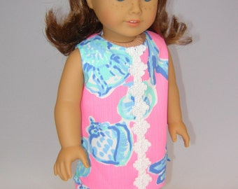 "American Doll Lilly Pulitzer® Shift Dress - 18"" Doll Lilly Dress - American Doll Clothes - Lilly ""Pink Pout Barefoot Princess"" Doll Dress"