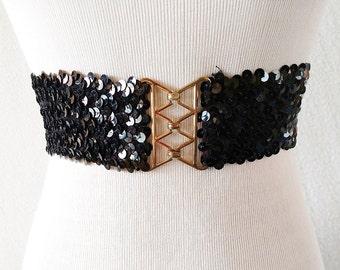 Vintage Black Elastic Sequin Thick Belt