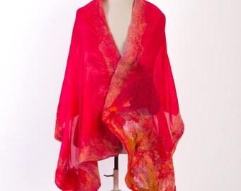 Merino wool scarf / Felt cape, Felted shawl, Nuno felted scarf, Wet felted scarf Merino wool shawl Nuno scarf Lightweight scarf Merino scarf