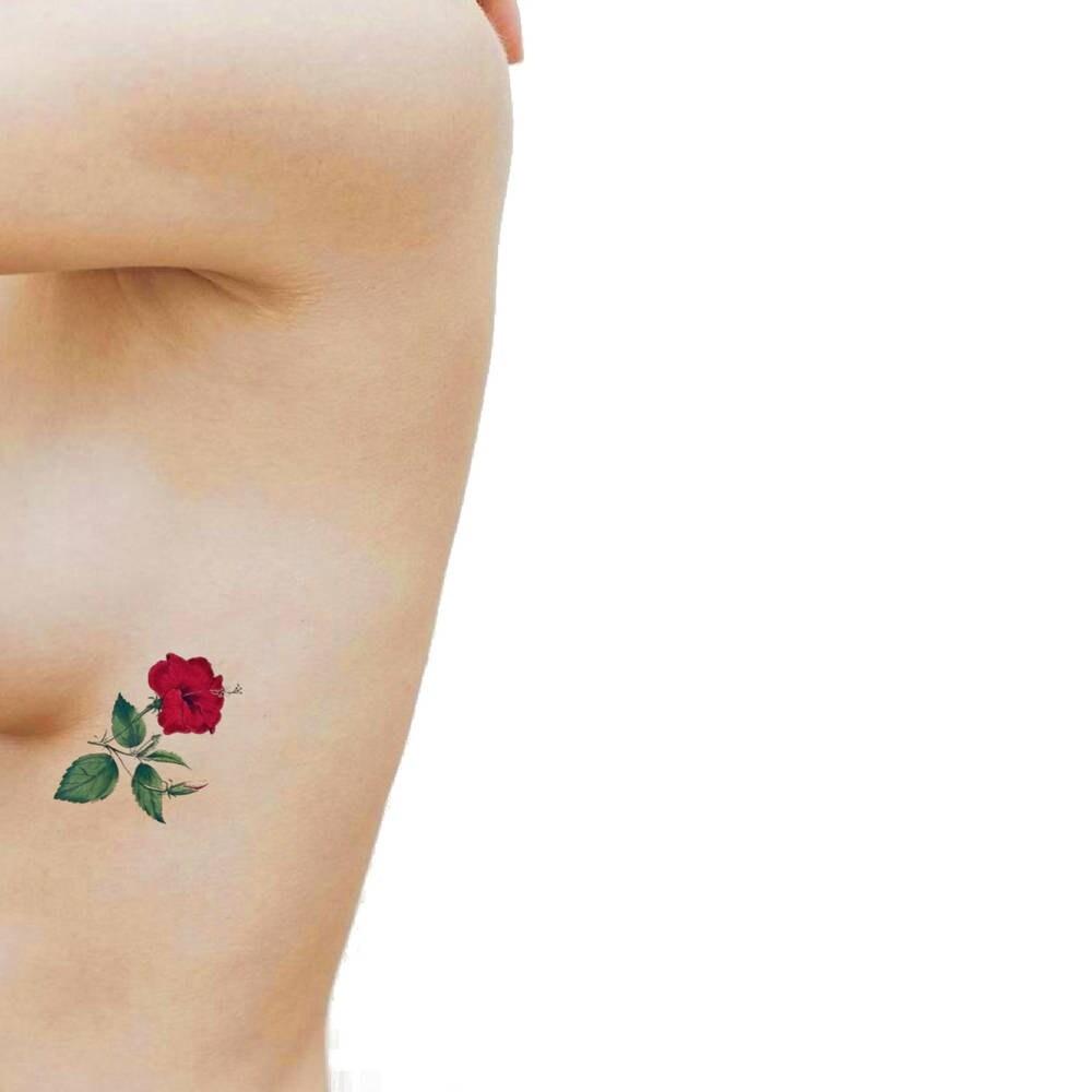 Ibisco rosso tatuaggio temporaneo medio tatuaggio for Small side boob tattoos