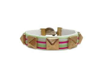 Golden Studded Striped Bracelet, Seafoam and Pink