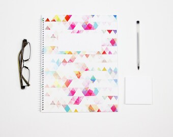 Geometric Watercolor Notebook / Personalized Spiral Notebook / Sketchbook / Journal