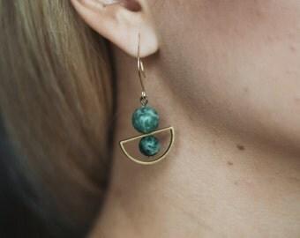 Geometric earrings, green marble earrings, modern earrings, boho style, architectural earrings, geometric jewelry, boho minimalist earrings