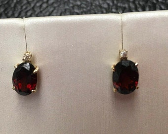 Estate Oval  Red Garnet Earrings with Diamonds in 14k Yellow Gold A Classic