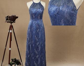 2017 Blue Lace Normal Dresses Evening Dresses Mother Dresses Flool Length Bridesmaid dresses Halter dress with open back