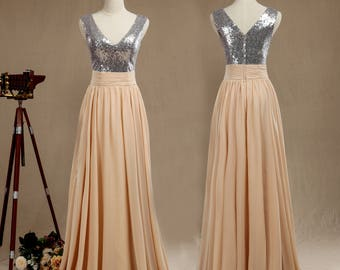 Sequined mix Chiffon Bridesmaid Dress,V neck V back without Sleeves A line Prom Dress,Silver Sequins Straps Champagne Chiffon Floor Length