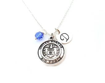 Air Force Charm Necklace - Swarovski Birthstone - Custom Initial - Personalized Sterling Silver Necklace - Gift For Her
