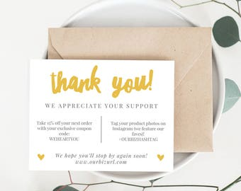 INSTANT Business Thank You Cards, Editable PDF Printable Packaging Inserts Online Shops, Etsy Sellers | Mustard Yellow, Adelie | Download