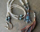 Beautiful faceted cherry quartz gemstone mala necklace