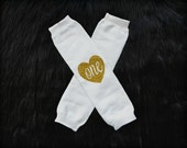 White plain legwarmer with gold glitter heart, written one inside, solid leg warmer birthday girl, fits 6-24 months of age
