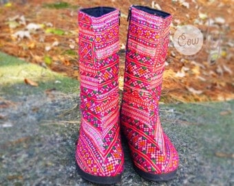Women's Tribal Vegan Boots, Womens Boots, Tribal Boots, Vegan Boots, Hmong Boots, Hippie Boots, Boho Boots, Pink Boots, Ethnic Boots, Boots
