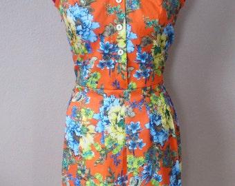 Retro Inspired Party Dress in Orange Floral/ Shirt Dress Sleeveless/ Summer Dress/ Spring Dress/ Casual Dress/ Garden Dress