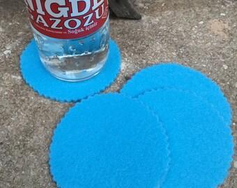 Bright Blue Round Felt Coasters, Wool Coasters, Simple Coasters, Coaster Set, Drink Coaster