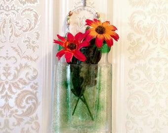 Fused Glass Vase - Wall Vase - Green Vase - Wall Hanging - Reed Diffuser - Flower Vase - Bud Vase - Pen/Pencil Holder - Housewarming Gift