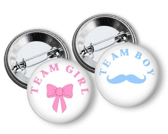 Gender Reveal Party  Party Favors Set of  1.25 inch Pin Back  Buttons Pink Blue Baby Shower Team Buttons