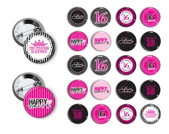 Sweet Sixteen Sweet 16 pins 1.25 inch Pin Back Button Party Favors Pins, Buttons, Badges, Happy Birthday Buttons