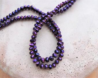 Metallic Purple faceted aurora borealis rondelle Crystal beads 12 inch strand