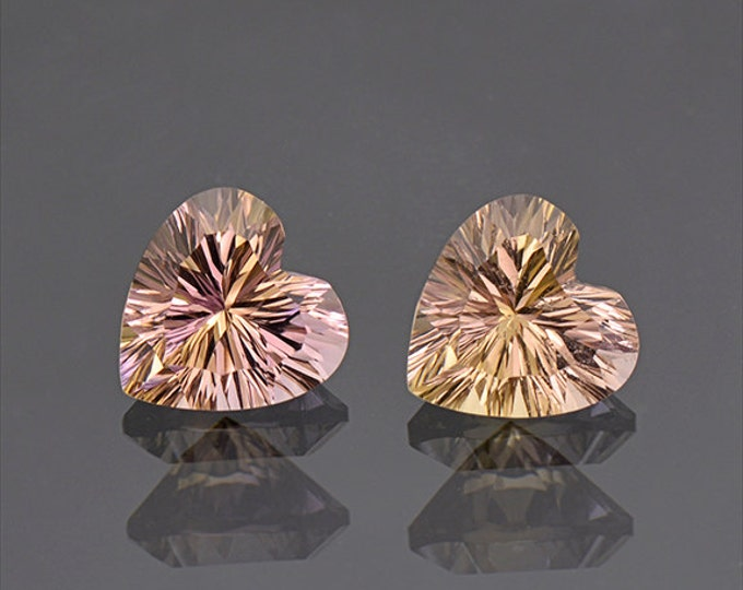 UPRISING SALE! Pretty Heart Ametrine Quartz Match Gemstone Pair 4.80 tcw.