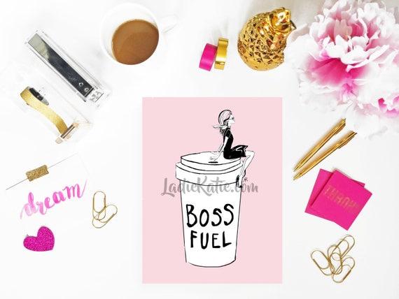 Coffee lover print, boss print, fashionista print, girly illustration, girly girl art, girly art, fashion sketch