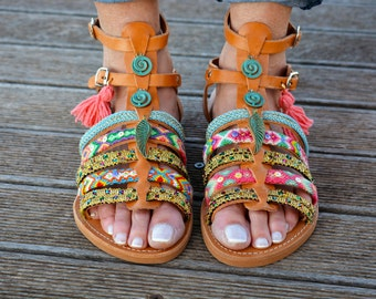 Boho Gladiator Sandals, Greek Sandals, Leather Sandals, Friendship Bracelets Sandals ''Angel's Wing''