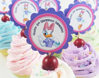 "Personalized Daisy Duck Birthday 2"" Scallop Mix n Match Cupcake Toppers"