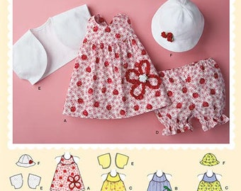 DARLING Baby and Toddler Girl Dress Pattern by Simplicity 2375 * Size New Born - 18 Months