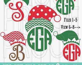 Monogram SVG Files Set of 8 cut files includes svg/png/jpg formats! Commercial use approved! Christmas svg santa hat svg elf svg elf hat svg