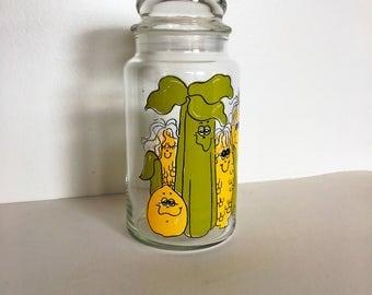 Vintage Hildi Glass Storage  Jar - Glass storage Canister - Hildi design - 1970's Retro Glass Storage