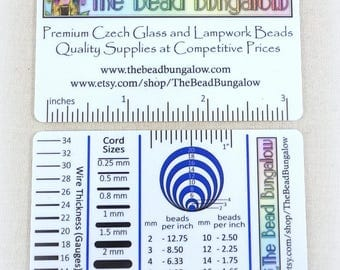 Jewelry Makers Tool, Measuring Guide - Tool for Measuring Beads, Wire, Cord, Beads per Inch, Centimeters, Millimeters, Gauges