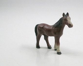 Vintage Miniature Painted Cast Iron Horse Figurine