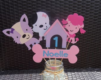 Girly Puppy Centerpiece - Poodle, Terrier, Dalmation, Doggy Centerpiece