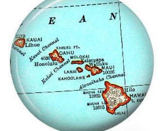 Badge Reel, Personalized ID Badge Holder, Hawaiian Islands Name Badge Holder, Retractable Id Badge, Name Badge Clips, Custom Badge Reel