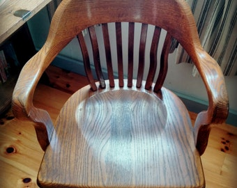 Local Pick Up or Delivery Only- Vintage Oak Office Swivel Chair - Banker's Chair