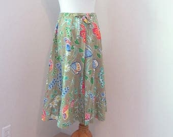Vintage Summer Skirt, Flower & Butterfly Brightly Colored Print A-Line Skirt, Circa 1970s.