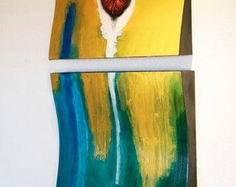 Original wood painted art panels, abstract wooden panels, abstract art, wooden wall art, abstract heart painting, abstract painting