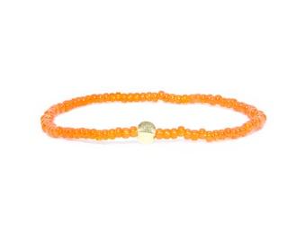 Beaded Bracelet in 18K Solid Yellow Gold - Beach Boho Stretch Cord- Tiny Orange Glass Beads - Men Women Unisex Gift Him Her