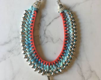 Hand dyed cotton boho necklace with silver toned, coral and turquoise pendant