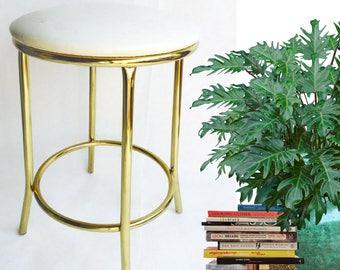 "Vintage Tall Brass Stool Hollywood Regency 24"" Counter Height Stool Desk Drafting Stool Craft Station Or Vanity Stool Tubular Brass Glam"