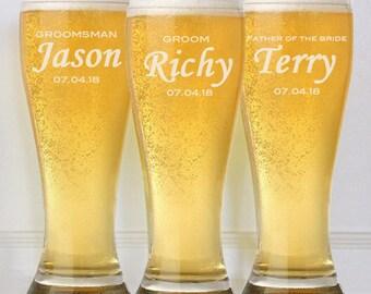 1 Groomsmen Pilsner Glass, Personalized Beer Glass, Beer Mug, Groomsman Gift, Gifts for Groomsmen Best Man Engraved Glasses, Groomsmen Gift