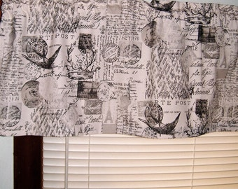 Window Curtain Valance, Shabby Chic, Eiffel Tower, Curtains Valance, Bird Curtain, Stamps, Kitchen Valance, French Script Bedroom Valance