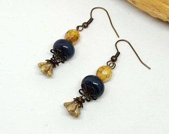 Navy Cream Bohochic Earrings - Navy Earrings - Cream Earrings - Bohochic Earrings